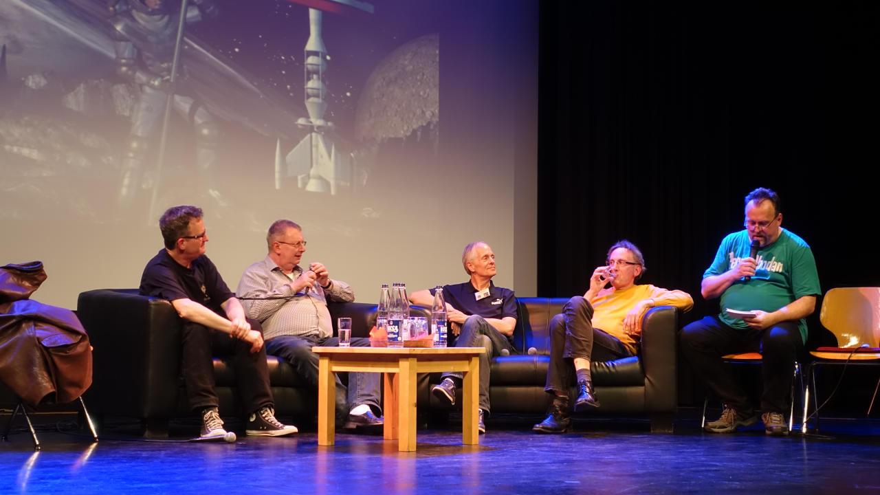 Late Night mit Klaus N. Frick, Uwe Anton, Andreas Brandhorst, Hermann Ritter und Rüdiger Schäfer (v.l.)