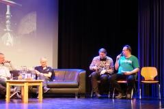 Late Night mit Klaus N. Frick, Uwe Anton, Andreas Brandhorst, Robert Corvus und Rüdiger Schäfer (v.l.)